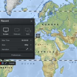 Image of the Screencast-O-Matic screen recorder over a map.