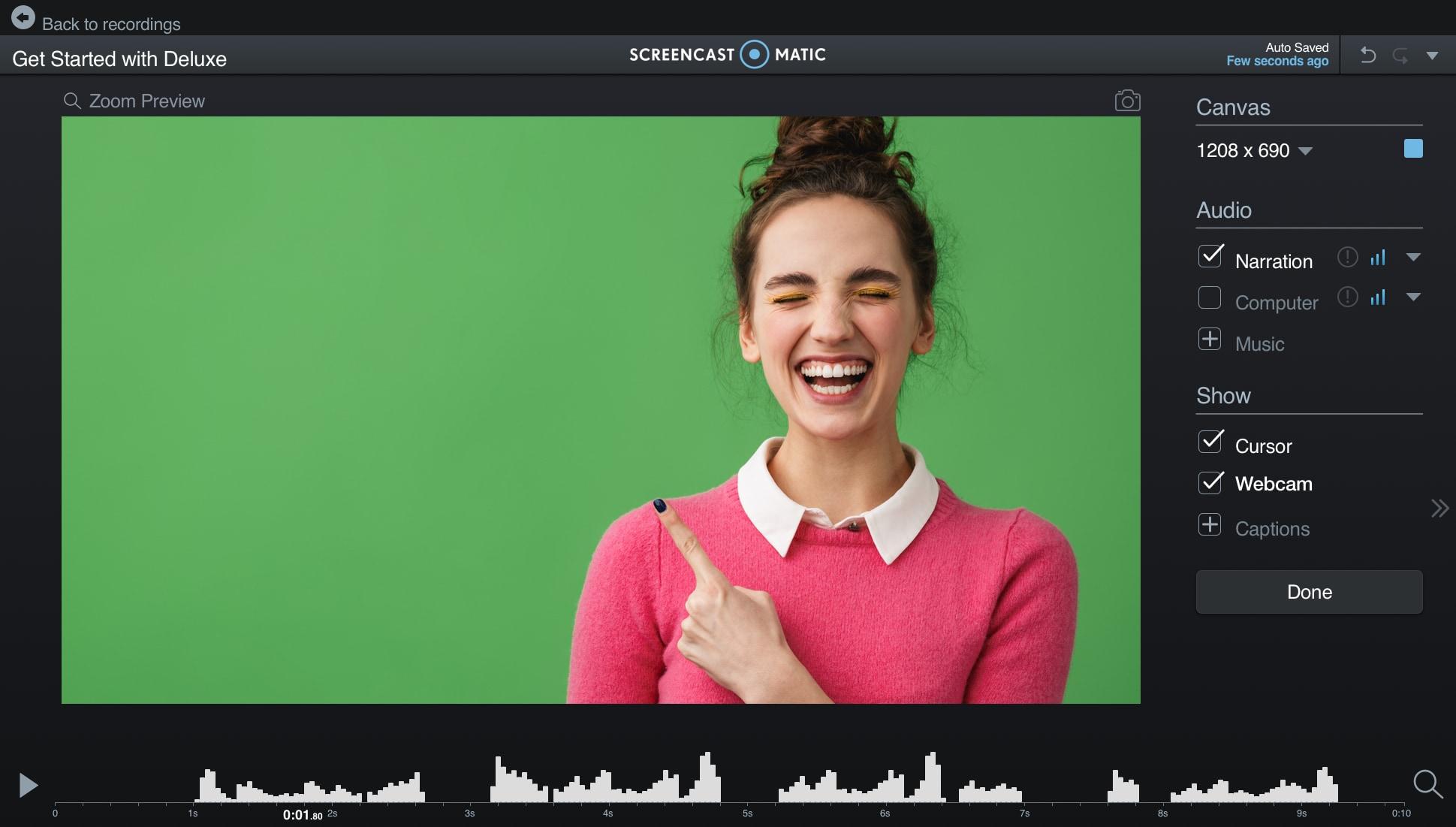 Green screen with Screencast-O-Matic