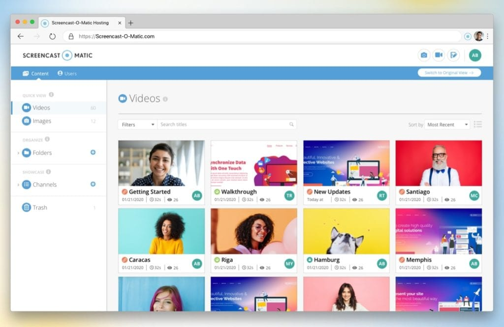 Quickly share and manage videos