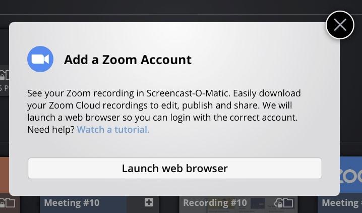 Add Zoom Account
